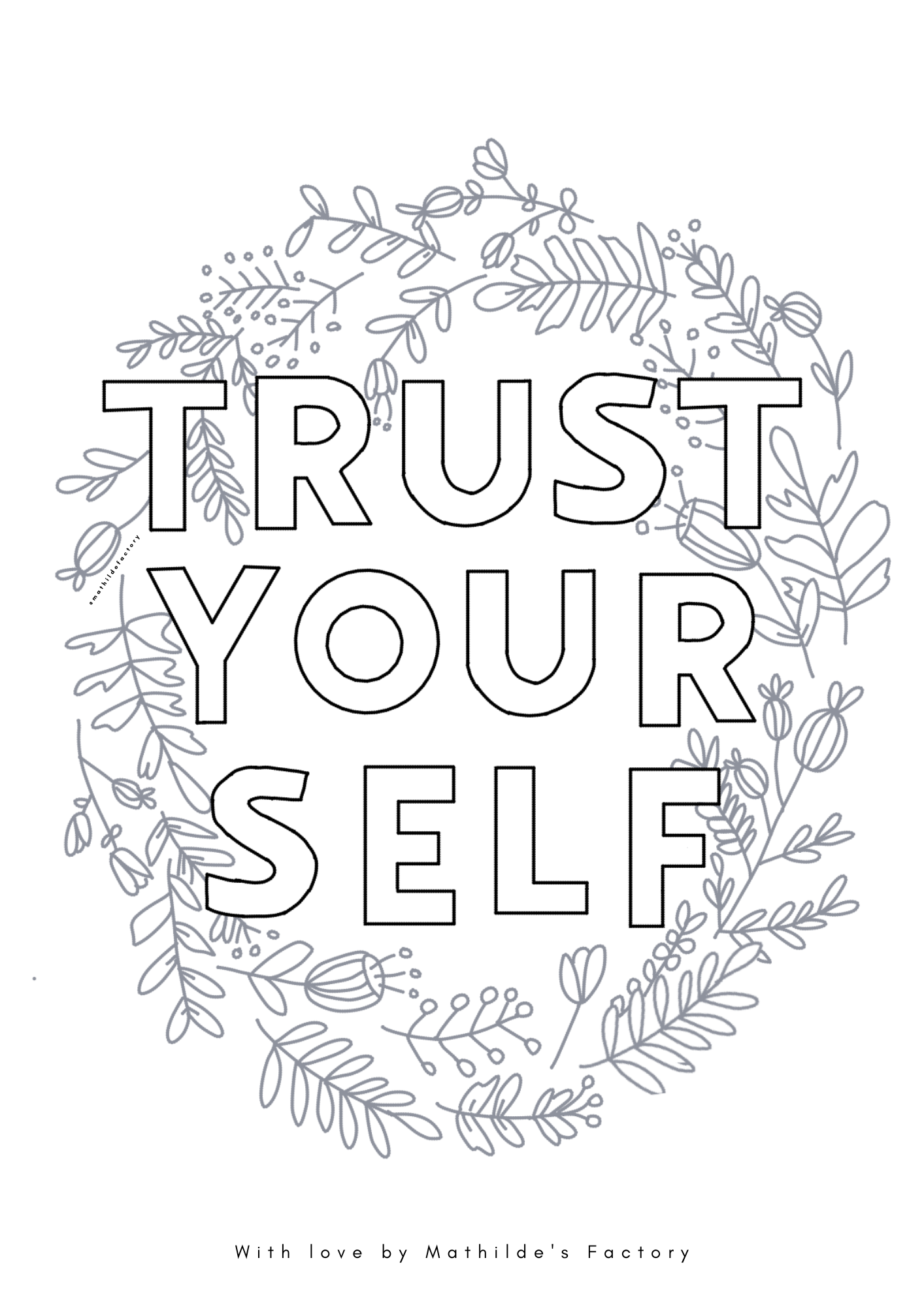 Coloriages à imprimer - try hard every day + trust yourself